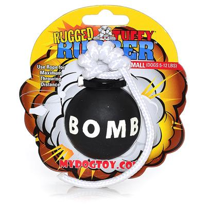Tuffy's Presents Tuffy's Rugged Rubber-Bomb Small Chew Toy Tuffys Bomb. Bomb - the Rope Allows you to Achieve Maximum Throwing Distance. Consists of High Quality Pure Rubber. This is a Toy you and your Dog will Love!! This Toy does not Squeak! [23851]