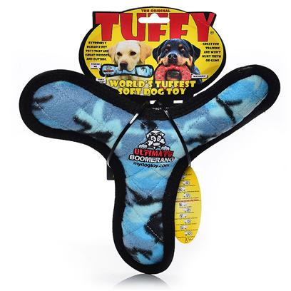 Tuffy's Presents Tuffy's Bowmerang-Blue Camo Chew Toy Tuffys Bowmerang Blue. Great for Interactive Play with One or Multiple Dogs. It can be Used as a Frisbee or a Tug Toy on Land or Even in the Water. Great for Flyball Training, Soft Edges Won't Hurt Gums. [23861]