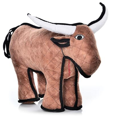 "Tuffy's Presents Tuffy's Barn Yard Bull Chew Toy Tuffys. ""Bevo""- there's no Bull when it Comes to this Bull! Bevo Comes from the Best of all Long-Horn Stock and is Ready to Take on your Canine Companion! With Super Strength and Durability, Bevo is Sure to Become a Friend for Life. Your Pooch is Sure to be Pleased with this Fun and Adventurous Toy! For Interactive Play with One or Multiple Dogs. Bevo does not Squeak! Easy to Toss and Floats! -- Soft Edges Won't Hurt Gums. [23862]"