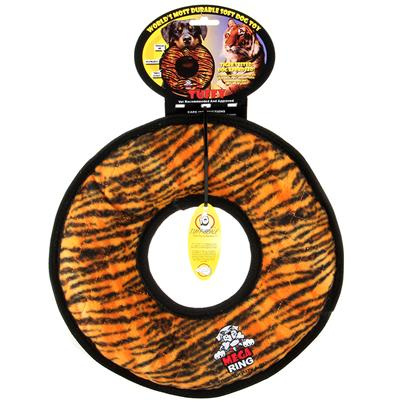 Tuffy's Presents Tuffy's Mega Tuffies-Tiger Print Chew Toy Tuffys Tiger. Mega Ring - Tiger Print is by Far our Tuffest Toy with 7 Layers of Material and 7 Rows of Stiching. Now that is Tuff ! Tiger Tested and Dog Approved. Use Interactively with your Dog. It can be Used as a Frisbee or a Tug Toy. Great for Flyball Training -- Soft Edges Won't Hurt Gums. It can Even be Used in the Water. This Toy will Entertain Multiple Dogs for Hours! [23897]