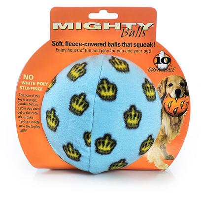 Tuffy's Presents Tuffy's Mighty Toy Ball-Medium Blue Chew Tuffys Ball Medium (Med). Mighty Balls Contain no White Poly Stuffing! They Squeak and Float!! The Core of this Toy is a Tough, Durable Ball, so if your Dog does Get to the Core it's just Like Having a Whole New Toy to Play With! These Balls may Seem Plush on the Outside, but all the Durability Features are Internal Making these Balls Soft, yet Mighty Strong. 4x 4 [23910]
