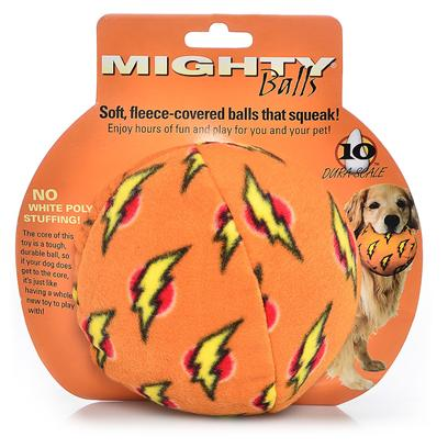 Tuffy's Presents Tuffy's Mighty Toy Ball-Large Orange Chew Tuffys Ball Large (Lg). Mighty Balls Contain no White Poly Stuffing! They Squeak and Float!! The Core of this Toy is a Tough, Durable Ball, so if your Dog does Get to the Core it's just Like Having a Whole New Toy to Play With! These Balls may Seem Plush on the Outside, but all the Durability Features are Internal Making these Balls Soft, yet Mighty Strong. [23912]
