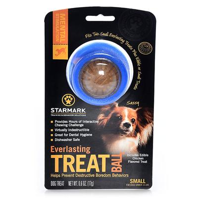 Triple Crown Presents Everlasting Treat Ball Small. Medium Blue - also Available in Small or Large Fill the Everlasting Treat Ball with Every Flavor Treats and then Cap off the Ends with Everlasting Treats or Everlocking Treats for a Real Interactive Chewing Challenge. Packaged with Chicken Flavor Everlasting Treats [23916]