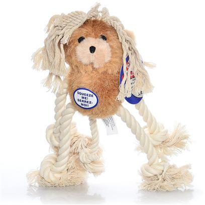 Ethical Presents Plush/Rope Mop*Pets-Bear Spot Mop Pets Plush Bear. Moppets Plush & Rope Bear Perfect Chew Pal, Satisfy a Dogs Natural Urge to Chew. All Rope has Knotted Ends. Squeaky Plush Bodies, Tough Rope Limbs. [23935]