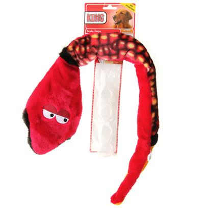 Kong Company Presents Dr Noys Plush Snake Large. What Sets Dr. Noys' Material Dog Toys Apart from the Plush Toy Pack? It's the Quality and the Ease at which the Squeaker can be Replaced and/or Removed. Compare Material Dog Toys with the Others and you can see the Difference. As a Bonus, all of our Dog Toys Come with a Free Replaceable Squaker. [23963]