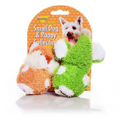 Petmate Presents Booda Terry Elephant/Chipmunk 2 Pack 2-Pack. These Pint-Sized Plush Toys are Perfect for your Small Dog or Puppy. Covered in a Soft, Terryfabric, they Come in Fun Shapes that your Dog will Love! Case Pk 30 [23985]