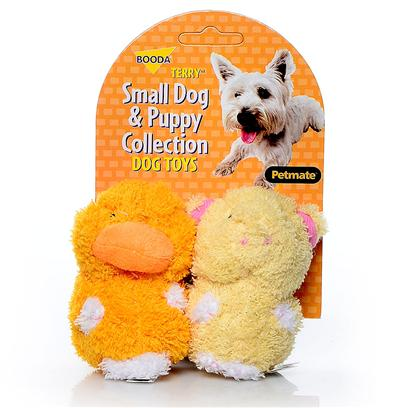 Petmate Presents Booda Terry Duck/Pig 2 Pack 2-Pack. Booda Classic Soft Bite ™ Toys Now Available in Sizes Perfect for your Small Dog or Puppy. Case Pk 30 [23986]