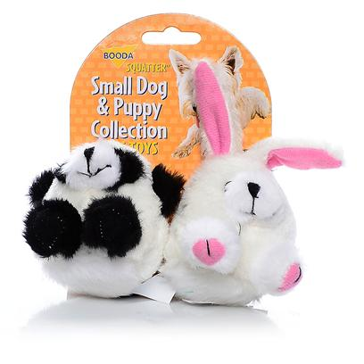 Petmate Presents Booda Squatters Panda/Rabbit-2pack 2-Pack. These Pint-Sized Plush Toys are Perfect for your Small Dog or Puppy. Covered in a Soft Fabric, they Come in Fun Ball Shapes that your Dog will Love! Case Pk 30 [23997]