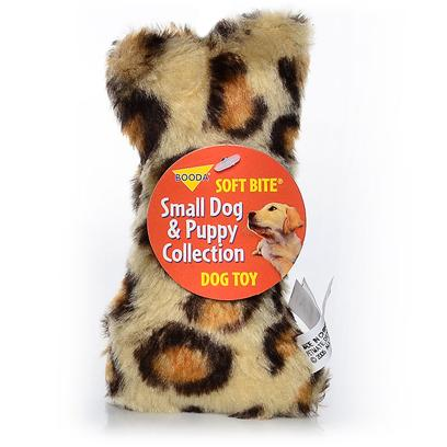 Petmate Presents Booda Skins Leopard Print Bone Small. Your Dog Won't be Able to Resist Chomping on Booda Skins. These Wild, Plush Toys are Available in the Two Best Selling Dog Toy Shapes Bones and Balls! These Fun Toys Come in Animal Patterns and can be Tossed, Rolled or Squeezed to Entertain your Dog for Hours. [24003]