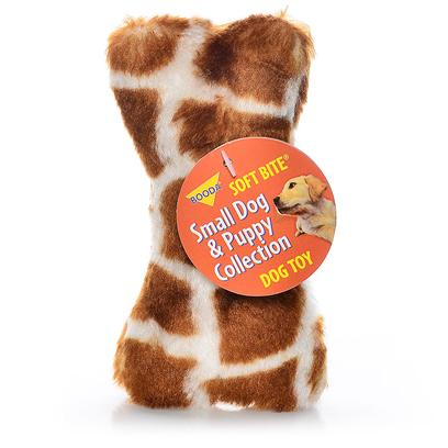 Petmate Presents Booda Skins Giraffe Print Bone Small. Your Dog Won't be Able to Resist Chomping on Booda Skins™. These Wild, Plush Toys are Available in the Two Best Selling Dog Toy Shapes Bones and Balls! These Fun Toys Come in Animal Patterns and can be Tossed, Rolled or Squeezed to Entertain your Dog for Hours. Case Pk 60 [24004]