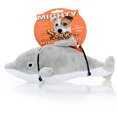 Tuffy's Presents Tuffy's Mighty Ocean Jr Dolphin-Dolly Tuffys Mghty Dlphn. Dolly Jr. - not only Known for their Intelligence, the Dolphin also Makes a Perfect Friend for your Canine Companion! Fetch, Tug and a Nighttime Pillow are all Possible with Dolly Dolphin. 8x 4x 4 [24061]