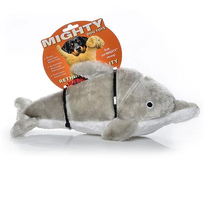 Tuffy's Presents Tuffy's Mighty Ocean Dolphin-Dolly Tuffys Dolphin. Dolly - not only Known for their Intelligence, the Dolphin also Makes a Perfect Friend for your Canine Companion! Fetch, Tug and a Nighttime Pillow are all Possible with Dolly Dolphin. 14x 4x 7 [24087]