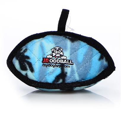 Tuffy's Presents Tuffy's Odd Ball Junior-Blue Camo Chew Toy Tuffys Jr Blue. Jr Odd Ball - has a Unique Shape that Makes it Easy for Dogs to Pick Up, Toss Around and Play with - Great for Fetch! Its Soft Edges Won't Hurt your Dog's Gums. Because of the Unique Shape, the Odd Ball does not have a Squeaker. [24092]