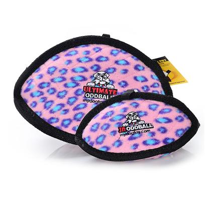 Tuffy's Presents Tuffy's Odd Ball Junior-Pink Leopard Chew Toy Tuffys Jr Pink. The Odd Ball has a Unique Shape that Makes it Easy for Dogs to Pick Up, Toss Around and Play with - Great for Fetch! Its Soft Edges Won't Hurt your Dog's Gums. [24094]