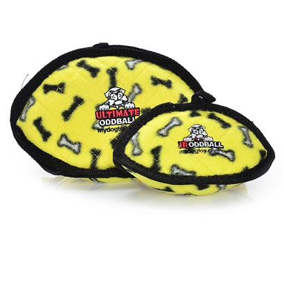 Tuffy's Presents Tuffy's Yellow Bones Chew Toy Tuffys Odd Ball. Great for Interactive Play with One or Multiple Dogs. It can be Used as a Frisbee or a Tug Toy on Land or Even in the Water. Great for Flyball Training, Soft Edges Won't Hurt Gums. [24098]