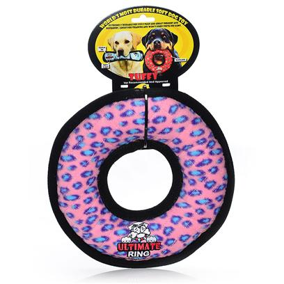 Tuffy's Presents Tuffy's Rumble Ring-Pink Leopard Chew Toy Tuffys Ring Pink. Use Interactively with your Dog. It can be Used as a Frisbee or a Tug Toy. Great for Flyball Training -- Soft Edges Won't Hurt Gums. The Ring Floats, can be Used on Land or Water. [24110]