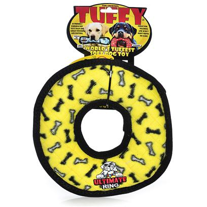 Tuffy's Presents Tuffy's Rumble Ring-Yellow Bone Chew Toy Tuffys Ring Yellow. Use Interactively with your Dog. It can be Used as a Frisbee or a Tug Toy. Great for Flyball Training -- Soft Edges Won't Hurt Gums. The Ring Floats, can be Used on Land or Water. [24112]