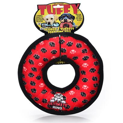 Tuffy's Rumble Ring Junior - Red Paw Print Chew Toy Tuffys Rumble Ring Rd Chew T