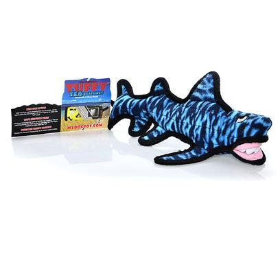 Tuffy's Presents Tuffy's Sea Creature Shack the Shark Chew Toy Tuffys. Tuffy's Shark - &quot;Shack&quot;- Great Fun - Throw it and your Dog will Love Bringing it Back. For Interactive Play with One or Multiple Dogs. It can Even be Used in the Water. This Toy will Entertain Dogs who Like to Whip their Toys and Play Fetch for Hours! Easy to Toss and Floats! -- Soft Edges Won't Hurt Gums. [24118]