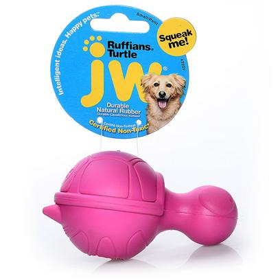 Jw Pet Company Presents Ruffians Rubber Toy Turtle Jw. Squeaking Rubber Dog Toy Fit the Personality of the Dog; Hard Rubber Squeaky Toy ; Distinctive Squeak; Made for Small Dogs; 6 Designs to Choose from the Ruffians will be the Perfect Squeaking Opponent to any Ruff and Gruff Dog. Jw Pet is Known for Exciting, Cutting Edge Design and Durability. The Ruffians are what all the Cool Dogs Want to Play with Now. Made of 100% Natural Rubber and Infused with Vanilla Extract. The Ruffians Toy is Designed so there is no Choking Hazard Posed by the Squeaker. The Entire Line of Tough by Nature Dog Toys are 100% Natural Rubber and Infused with Vanilla Extract. Every Toy is Designed to be Sensitive to the Health and Well Being of the Pet. [24134]