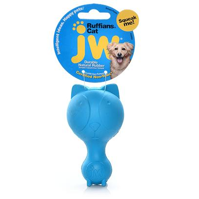 Jw Pet Company Presents Ruffians Rubber Toy Cat Jw. Squeaking Rubber Dog Toy Fit the Personality of the Dog; Hard Rubber Squeaky Toy ; Distinctive Squeak; Made for Small Dogs; 6 Designs to Choose from the Ruffians will be the Perfect Squeaking Opponent to any Ruff and Gruff Dog. Jw Pet is Known for Exciting, Cutting Edge Design and Durability. The Ruffians are what all the Cool Dogs Want to Play with Now. Made of 100% Natural Rubber and Infused with Vanilla Extract. The Ruffians Toy is Designed so there is no Choking Hazard Posed by the Squeaker. The Entire Line of Tough by Nature Dog Toys are 100% Natural Rubber and Infused with Vanilla Extract. Every Toy is Designed to be Sensitive to the Health and Well Being of the Pet. [24137]