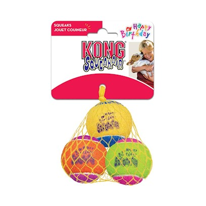 Kong Company Presents Kong Airdog-Happy Birthday Squeaker Balls (3 Pack) Assorted 3 Pack. Our Durable, High Quality Squeaker Tennis Ball is Covered in a Nonabrasive Tennis Ball Material that will not Wear Down Dog's Teeth. [24167]