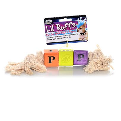 Four Paws Presents Lil' Ruffs Rubber Toy-Puppy Blocks &amp; Rope Puppy. Introducing Four Paws Lil' Ruffs, a Complete Line of Natural Rubber and Cotton Rope Toys Specially Designed for Puppies and Small Dogs. Eight Puppy and Little Dog Tuff Toy Designs Offered in a Assorted 4 Pack of Three Bright Colors - Purple, Lime and Orange. [24168]