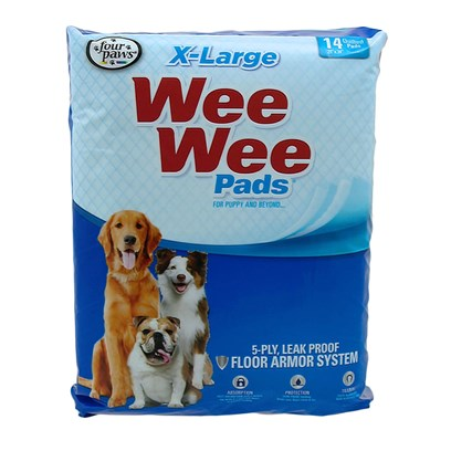 Four Paws Presents Wee Pads Extra Large 14pk 6 Pack. Housebreaking the Easy Way. The Super Absorbent Wee-Wee Pad will Attract Puppies when Nature Calls. Plastic Lining Prevents Damage to Floors and Carpets. 14 Pack (30&quot; X 36&quot;) X-Lg Pad) 14 Pk [24211]