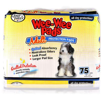 Four Paws Presents Wee Pads Adult Dog Fp 40ct. Four Paws Quilted Pads are Highly Absorbent, Neutralize Odors, and do not Leak. They Remove Moisture from the Top of the Pad and Dry Internally, Eliminating Runoff. Wee-Wee Pads for Adult Dogs are Larger than Traditional Wee-Wee Pads for Puppies. [24212]