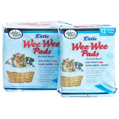 Four Paws Presents Wee Pads for Little Dogs 12 Pack-16.5' X 23.5'. Four Paws, the Maker of the #1 Best Selling Brand of House Breaking Pads in the World- Wee-Wee Pads, is Delighted to have Created the Pet Industry's only Housebreaking Pad Marketed Specifically for Little Dogs. Four Paws Wee-Wee Pads for Little Dogs Targets the Vast, Growing Number of Small/Little Dogs. Wee-Wee Pads for Little Dogs are Sized just Right for Smaller Dog Breeds-16.5&quot; X 23.5&quot;. The Pads are so Convenient, they can be Quickly and Easily Placed Anywhere! Like all Four Paws Wee-Wee Pads, they are Highly Absorbent and have been Treated with an Attractant so Little Dogs Know &quot;Right where to Go&quot;. Four Paws Wee-Wee Pads are Versatile in that they can be Used for Training-or as an Everyday Alternative to the Outdoors when Pets (or the People that Care for them) are &quot;Housebound&quot;. The Wee-Wee Pads for Little Dogs are Available in Two Packages-a 12 Ct and 28 Ct. 12 Pk [24218]