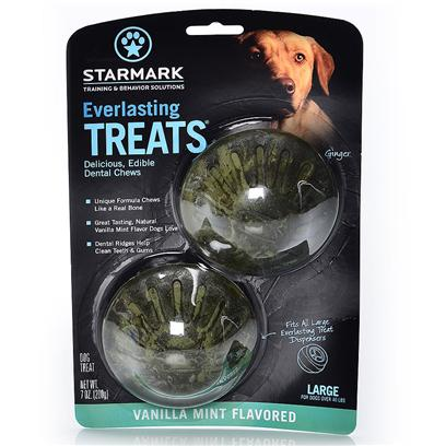 Triple Crown Presents Everlasting Treat Ball Treats-Vanilla Mint Large. Medium - also Available in Small or Large Vanilla/Mint - also Available in Chicken, Liver or Bbq can be Used Alone as a Tasty Treat or with the Everlasting Treat Ball. Made from Natural Ingredients without Plastic or Polymners. Completely Edible and Digestible with an Irresistible Taste. [24224]