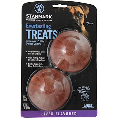 Triple Crown Presents Everlasting Treat Ball Treats-Liver Large. Large - also Available in Small or Medium Liver - also Available in Chicken, Vanilla/Mint or Bbq can be Used Alone as a Tasty Treat or with the Everlasting Treat Ball. Made from Natural Ingredients without Plastic or Polymners. Completely Edible and Digestible with an Irresistible Taste. [24226]