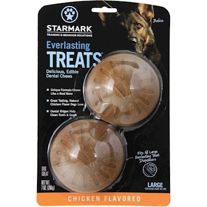 Triple Crown Presents Everlasting Treat Ball for Dogs-Chicken Large. Large - also Available in Small or Medium Chicken - also Available in Liver, Vanilla/Mint or Bbq can be Used Alone as a Tasty Treat or with the Everlasting Treat Ball. Made from Natural Ingredients without Plastic or Polymners. Completely Edible and Digestible with an Irresistible Taste. [24229]