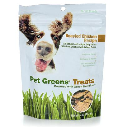 Bellrock Growers Presents Pet Greens Chicken Dog Treats 4oz Bellrock Treat. Available in Roasted Chicken and Savory Beef, our all-Natural Jerky-Style Pet Greens Treats are the only Dog Treats Made with Organic Wheat Grass, an Excellent Source of Green Nutrition. Available in 4 Oz. Bags. All-Natural, 90% Real Meat Recipe - no Artificial Colors or Flavors no Wheat Gluten no Grains or Fi Llers [24255]