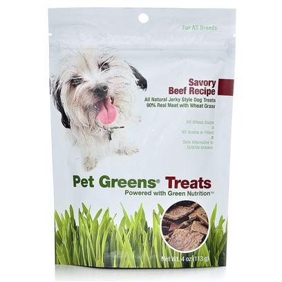 Bellrock Growers Presents Pet Greens Beef Dog Treats 4oz Bellrock Treat. Available in Roasted Chicken and Savory Beef, our all-Natural Jerky-Style Pet Greens Treats are the only Dog Treats Made with Organic Wheat Grass, an Excellent Source of Green Nutrition. Available in 4 Oz. Bags. All-Natural, 90% Real Meat Recipe - no Artificial Colors or Flavors no Wheat Gluten no Grains or Fi Llers [24256]