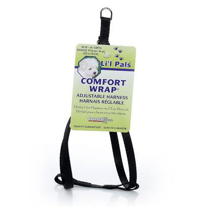 "Coastal Presents X-Small Li'l Pals Comfort Wrap Adjustable Harness Black-5/16'. The Comfort Wrap, Step in Style Harness is Super Easy to Get on and off your Pet! With Three Built in Adjustment Points, this Harness Features Metal Hardware at all Stress Points. Manufactured from High Quality 5/16"" Nylon that has been Specially Procesed to Prevent Fraying and Increase Strength this Harness Adjusts from 8"" Up to 14"" and is Suitable for Petite Dogs. To Put this Style of Harness on your Dog, Open the Harness and Lay it Flat. Assist Dog to Step into Harness, Pull Up Around Body and Buckle. Use Slide Adjustments for Final Fitting. 5/16"" X Adj. 8""-14"" Npk [24277]"