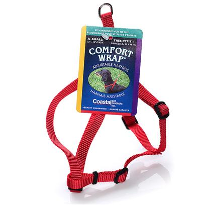 Coastal Presents X-Small Comfort Wrap Adjustable Harness-3/8' Red. For Comfort and Convenience, the Comfort Wrap Harness is a Perfect Choice. Adjustable Slides in Three Locations Allow you to Fit your Dog Perfectly. The Snap-Lock Buckle and Simple Design of this Harness Make Placing it on your Dog Quick and Easy. Two Metal D-Rings, which Attach to the Leash, Make Comfort Wrap One of the Strongest and Safest Adjustable Harnesses Available. [24303]