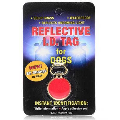 Coastal Presents C Pet I.D. Tag-Red 1'. These Waterproof, 100% Brass Identification Tags Reflect Oncoming Light to Protect Pets at Night. They are Available for Both Cats and Dogs. Keep your Pet Safe at Night with a Reflective Identification Tag. [24336]