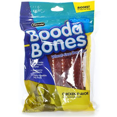 Petmate Presents Booda Biggest Bone-Chicken 2 Pack. Booda Bones Wheat-Free Dog Chews are Designed to Help Fight Plaque and Tartar. With our Wholesome Ingredients Booda Bones are Highly Digestible. Case Pk 36 [24367]