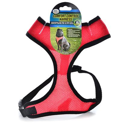 Four Paws Presents Nylon Ez Latch &amp; Comfort Control Harnesses Harness-X-Large/Red. Four Paws Comfort Control Harnesses are Comfortable for Small Dogs to Wear with Complete Control for the Owner. The Durable, Long Lasting Neoprene Mesh Material is a Very Light Weight and Breathable for Comfort. [24397]