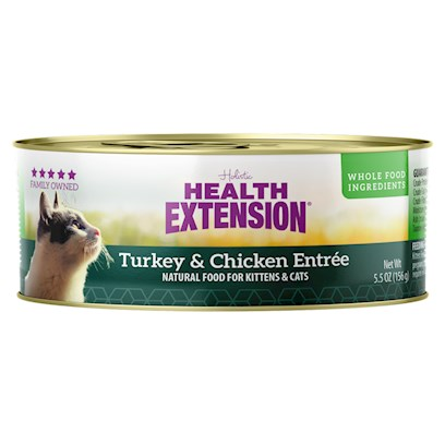 Vets Choice Presents Health Extension Chicken &amp; Turkey Entree he Chickn 5.5oz 24pc. Health Extension Chicken &amp; Turkey Entree Uses High Quality Protein Free from Growth Hormones and Steroids. Feel Good About Feeding a can Fortified with Vitamins, Minerals, Rich Fruits &amp; Vegetables to Help Maintain Proper Urinary Tract Health. [24412]