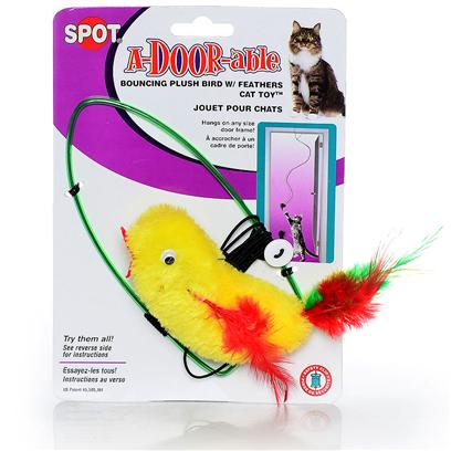 Ethical Presents a-Door-Able Plush Bird with Feathers Action Toy Bouncing Feather Catnip. Adoreable Plush Bird that can Hang on Door Handle, Hours of Fun. [24423]