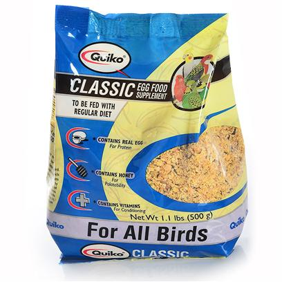 Sun Seed Company Presents Quiko Classic Eggfood Supplement all Birds Sun Bird 500g. Quiko Eggfoods are Specialty Foods Made with Real Eggs and Honey. Fed in Conjunction with the Birds' Daily Diet, they Provide Increased Protein, Calcium and Nutrients. They are Highly Palatable and Readily Accepted. Protein (Min. 17.5%), Fat (Min. 6.2%), Fiber (Max. 3.0%). [24460]