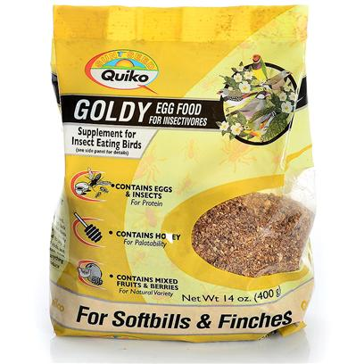 Sun Seed Company Presents Quiko Goldy Egg Food (Insectivores) Sun Insectivore. Quiko Eggfoods are Specialty Foods Made with Real Eggs and Honey. Fed in Conjunction with the Birds' Daily Diet, they Provide Increased Protein, Calcium and Nutrients. They are Highly Palatable and Readily Accepted. Protein (Min. 18%), Fat (Min. 19%), Fiber (Max. 2.3%). [24463]