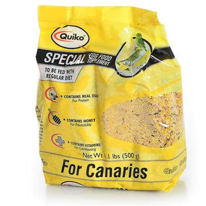 Sun Seed Company Presents Quiko Special Egg Food Canaries Sun Canary. Quiko Eggfoods are Specialty Foods Made with Real Eggs and Honey. Fed in Conjunction with the Birds' Daily Diet, they Provide Increased Protein, Calcium and Nutrients. They are Highly Palatable and Readily Accepted. Protein (Min. 17.5%), Fat (Min. 6.2%), Fiber (Max. 3.0%). [24466]