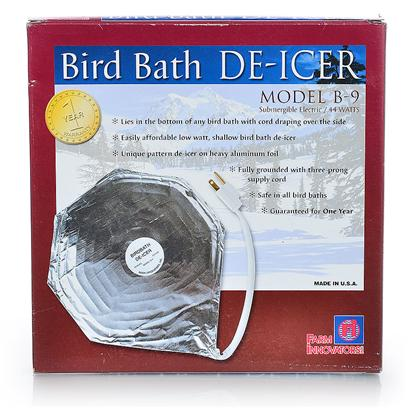 Farm Innovators Presents Heated Economy Bird Bath Deicer. 44 Watt Economical Bird Bath de-Icier. Uniquely Constructed Pattern Heater on Thermal Aluminum Foil. Easily Affordable Low Watt, Shallow Bird Bath de-Icer. Uniquely Patterned Heater is Enclosed in Thermal Foil and is Safe to Use in all Bird Baths. Fully Grounded with Three Prong Supply Cord. Tested to 1 Degree Below Zero. [24474]