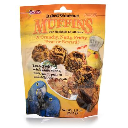 Fm Browns Presents Baked Gourmet Muffins for all Birds 3.5oz. Brown's Gourmet Baked Muffins are Naturally Rich in Essential Nutrients and a Fun Treat, Snack or Reward for Hookbills of all Sizes. Loaded with Wholesome Seeds, Nuts, Sweet Potato and Delicious Papaya! Baked in Muffin Molds to Create 5 Fun Shapes Yes they are Really Baked!!! Hookbills of all Sizes 3.5 Oz [24479]