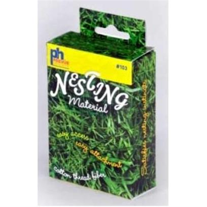 Prevue Presents Bird Nesting Material Box. This Box Contains Natural Cotton Thread Fibers which are Great for Nest-Building. The Box Easily Attaches to any Cage and the Perforated Hole Pops out with a Simple Push so Birds can have Quick &amp; Easy Access to the Fibers. Available in a Full-Color Display Box. End 048081001103 Prevue Pet Products, Inc. #110b Cockatiel House Cage 22&quot;L X 15&quot;D X 23&quot;H with 5/8&quot; Wire Spacing this Cage Features an all-Metal Base and has a Pull-out Bottom Grille and Drawer for Easy Cleaning. The Front Door Opens Down as a Landing-Style Door and is Sized to Fit Cockatiels, Conures and Other Birds of that Size. 3 Plastic Cups, 2 Wood Perches and a Plastic Seed Guard Set are Included with the Cage, which is Made in the U.S.A. Available in Black. [24547]