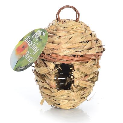 Prevue Presents Finch Round Hut Nest. Large Round Covered Woven Fiber Nest for Breeding. [24556]