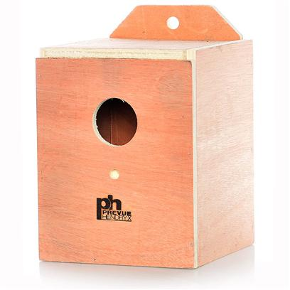 Prevue Presents Keet Nest Box-Wood (Inside Mount) Wood Box. Solid Hardwood Nest Boxes with Indented Bottom Center to Prevent Egg Rolling. Top Opening for Easy Cleaning. Lovebird Size 6 &quot; X 6 &quot; X 7 &quot; [24561]